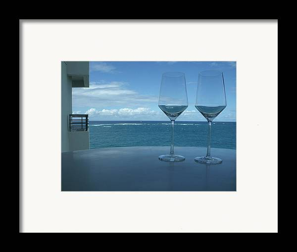 Wine Glasses Framed Print featuring the photograph Drinks On The Terrace by Anna Villarreal Garbis