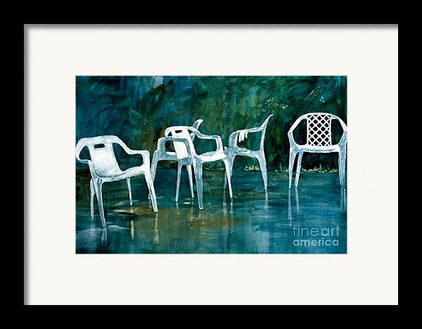 Lawn Chairs Framed Print featuring the painting Drip Dry by Elizabeth Carr