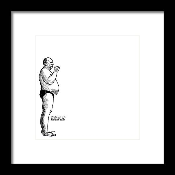 Drawing Framed Print featuring the drawing Drive-thru American Man by Karl Addison