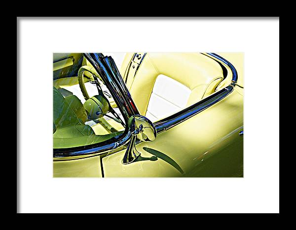 Industrial Art Framed Print featuring the photograph Driver's Seat -- 1958 Chevrolet Corvette At The Golden State Classic Car Show, Paso Robles Ca by Darin Volpe