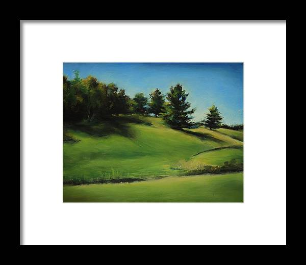 Landscape Framed Print featuring the painting Driving By A Michigan Meadow by Kiersten Sundberg
