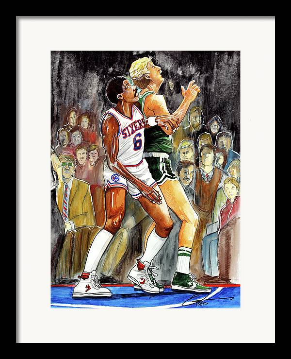 Larry Bird Framed Print featuring the painting Dr.j Vs. Larry Bird by Dave Olsen