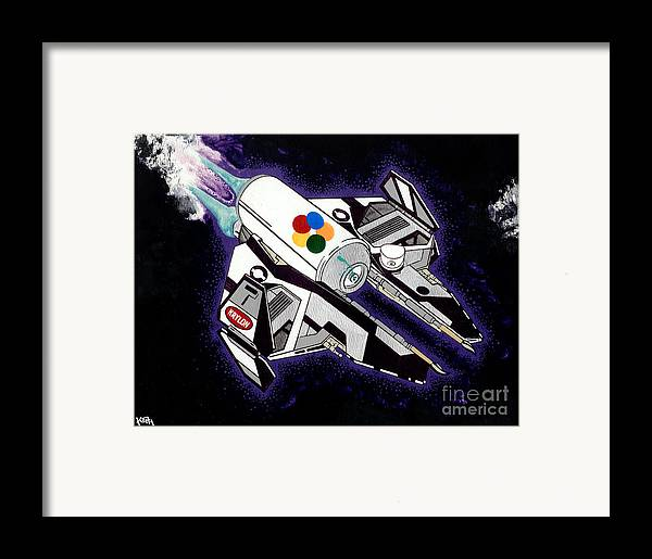 Space Framed Print featuring the painting Drobot Space Fighter by Turtle Caps