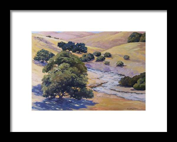 Landscape Framed Print featuring the painting Dry Creek by Maralyn Miller