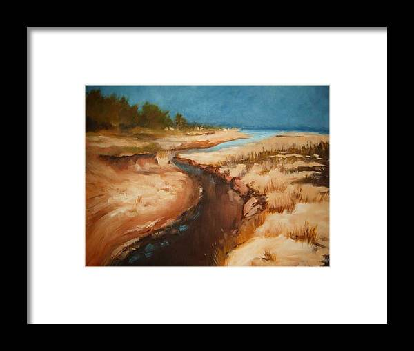 River Bed Framed Print featuring the painting Dry River Bed by Nellie Visser