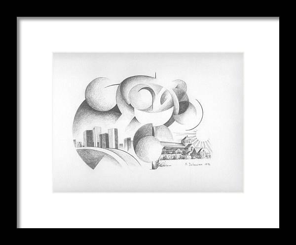 Abstract Framed Print featuring the drawing Dualite by Muriel Dolemieux