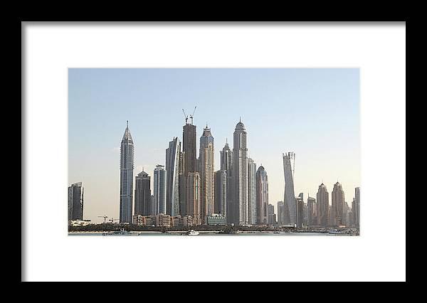 City Framed Print featuring the digital art Dubai City Skyline by Sandeep Gangadharan