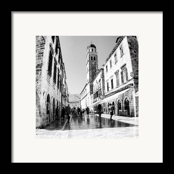 Beautiful Framed Print featuring the photograph #dubrovnik #b&w #edit by Alan Khalfin