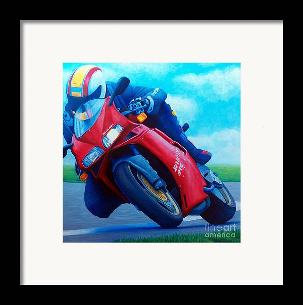 Motorcycle Framed Print featuring the painting Ducati 916 by Brian Commerford