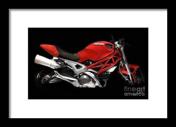 Motorcycles Framed Print featuring the photograph Ducati Monster In Red by Kimxa Stark