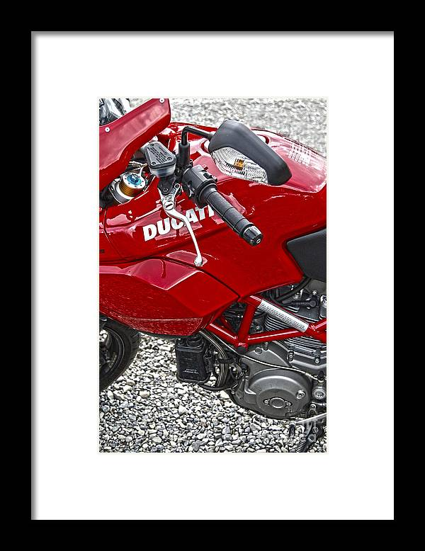 Diane Berry Framed Print featuring the photograph Ducati Red by Diane E Berry