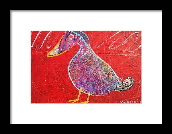 Duck Bird Red Framed Print featuring the mixed media Duck by Dave Kwinter