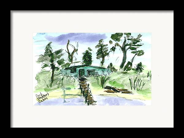 Kevin Callahan Framed Print featuring the painting Duck Hunters Cabin by Kevin Callahan