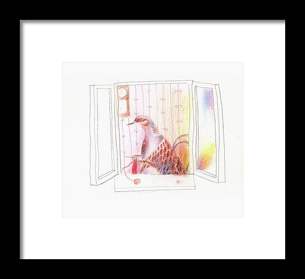Baby Framed Print featuring the drawing Duck In A Window by Maia Ianuschevici