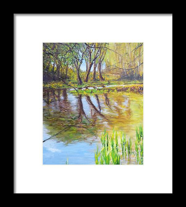 Pond Framed Print featuring the painting Duck Pond I by Lizzy Forrester