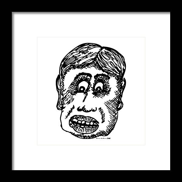 Drawing Framed Print featuring the drawing Dude Face by Karl Addison