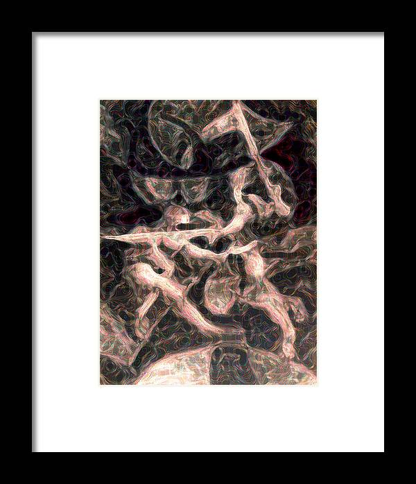 Duel Framed Print featuring the digital art Duel In Fluidity by Michael Hobbs