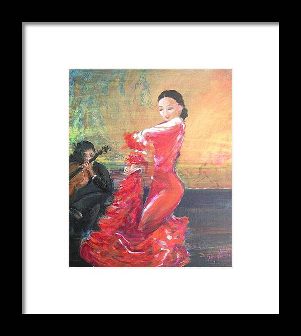 Gypsy Flamenco Dancer. Spanish Dancer Framed Print featuring the painting Duende by Lizzy Forrester