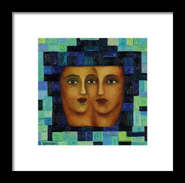 Image Framed Print featuring the painting Duet 3 by Evgenia Davidov