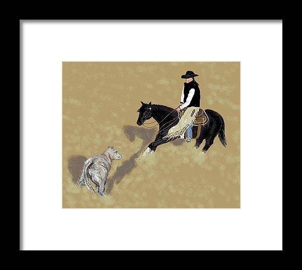 Horses Framed Print featuring the digital art Duet by Carole Boyd