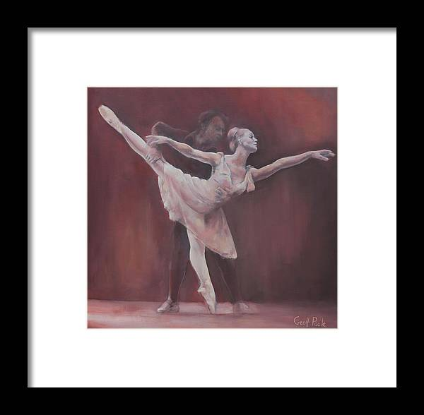 Dance Ballet Figurative Pointe Dancer Girl Dancer Dancers Framed Print featuring the painting Duet by Geoff Poole