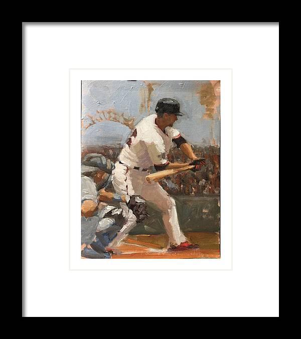Matt Duffy Framed Print featuring the painting Duffy at Bat by Darren Kerr