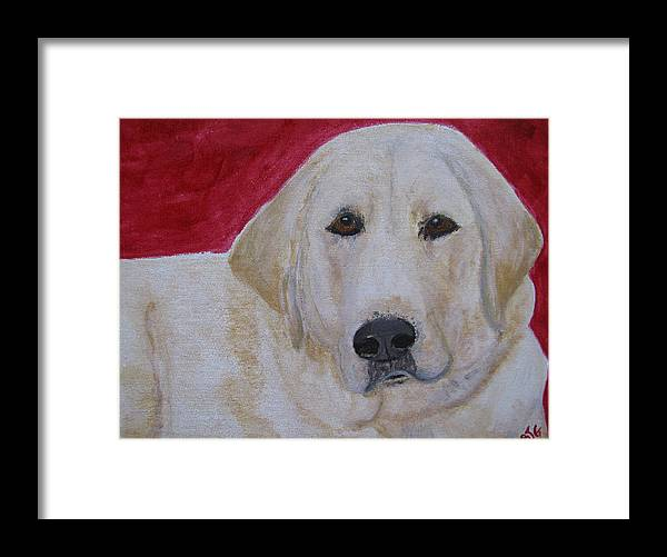 Labrador Retriever Framed Print featuring the painting Duke by Barbara Giordano