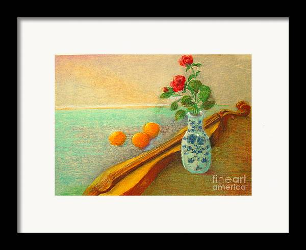 Still Life Framed Print featuring the painting Dulcimer And Delft    Copyrighted by Kathleen Hoekstra