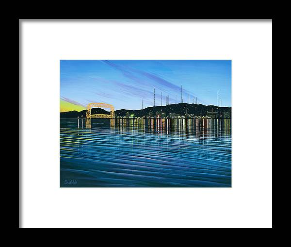Landscape Framed Print featuring the painting Duluth Dusk by Dan Shefchik
