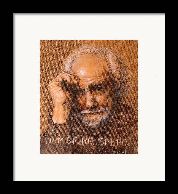 Old Man Framed Print featuring the painting Dum Spiro Spero by Ixchel Amor