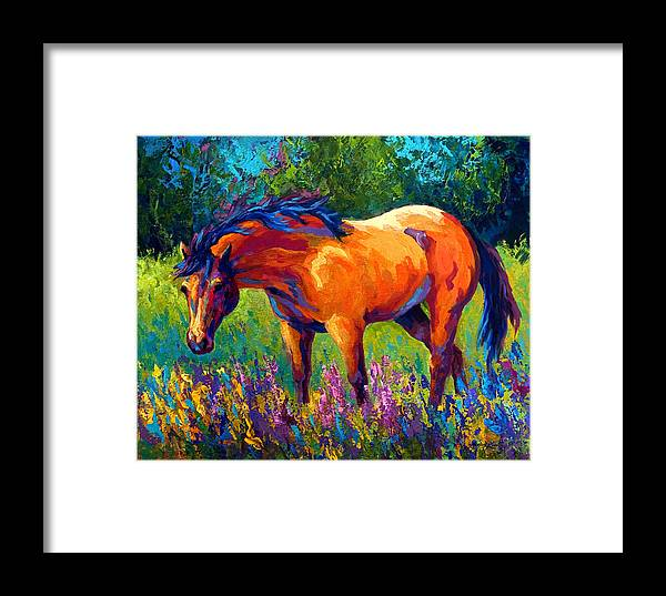 Horses Framed Print featuring the painting Dun Mare by Marion Rose