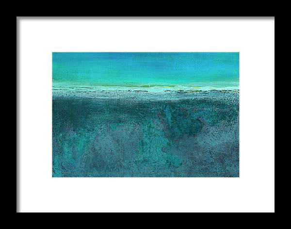 Teal Framed Print featuring the painting Dune by K Batson Art