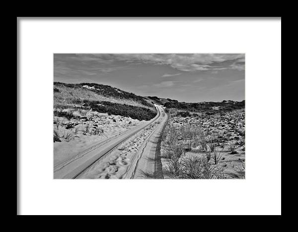 Dune Shack Framed Print featuring the photograph Dune Path In Black And White by Marisa Geraghty Photography