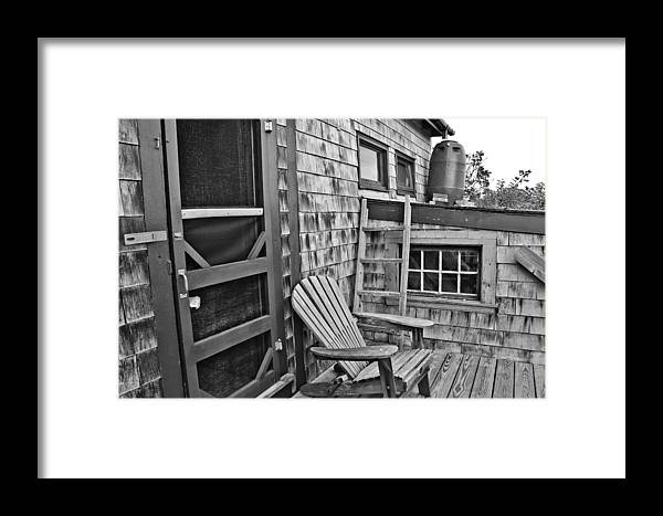 Dune Shack Framed Print featuring the photograph Dune Shack Deck by Marisa Geraghty Photography