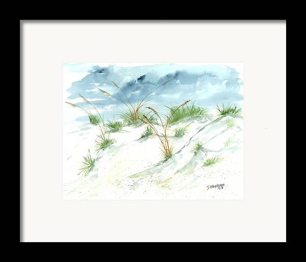 Beach Framed Print featuring the painting Dunes 3 Seascape Beach Painting Print by Derek Mccrea