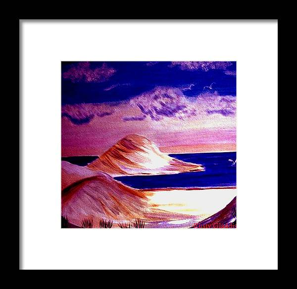 Sand Dunes Framed Print featuring the painting Dunes by Rusty Gladdish