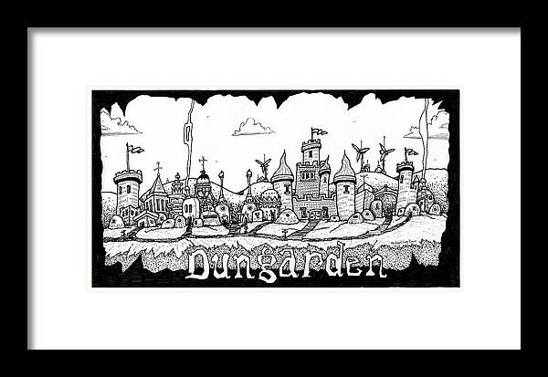 Fantasy Framed Print featuring the drawing Dungraden by Michael Sean Piper