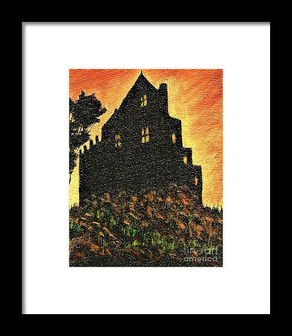 #scotland #argyll #duntrunecastle #haunted #paranormal #ghost #acrylic #americanartist #art #artcollector #artforsale #artgallery #artist #artistsoninstagram #artistsontwitter #artoftheday #artofvisuals #beauty #beautiful #bestsellersinstagram #buyart #collectart #colors #colorful #creativity #fineart #followart #gallery #instaabest #instadaily #instacool #instafollow #instaframe #instafun #instagood #instalike #interiordesign #landscape #instatravel #mood #nature #newartwork #surrealism #scifi Framed Print featuring the painting Duntrune Castle Argyll Scotland by Allison Constantino