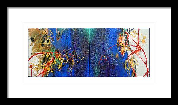 Abstract Framed Print featuring the painting Duo by Dale Witherow