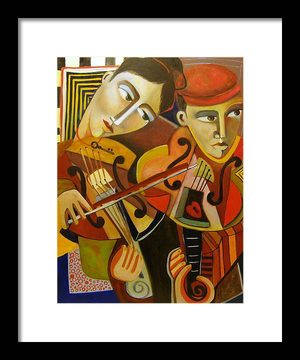 Music Violins Romance Man Woman Framed Print featuring the painting Duo Romantico by Niki Sands