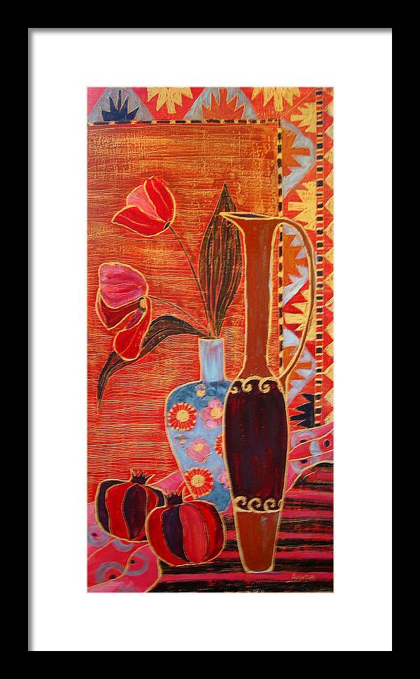 Still Life Framed Print featuring the painting Duos by Aliza Souleyeva-Alexander