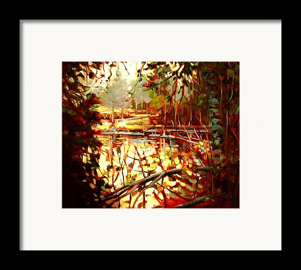 Landscape Paintings Framed Print featuring the painting Durance Lake by Brian Simons