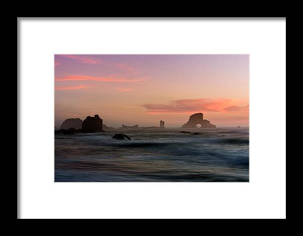 Cannon Beach Framed Print featuring the photograph Dusk At Ecola Point by Robert Potts