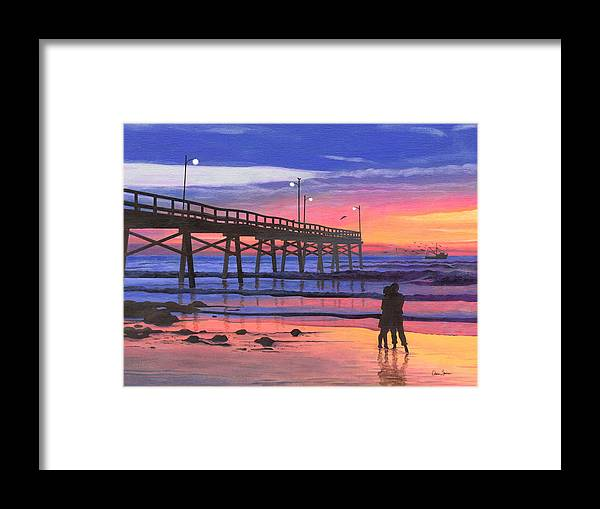 Dusk At The Pier Framed Print featuring the painting Dusk At The Pier by Christopher Spicer