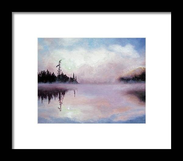 Landscape Framed Print featuring the painting Dusk by Marina Petro