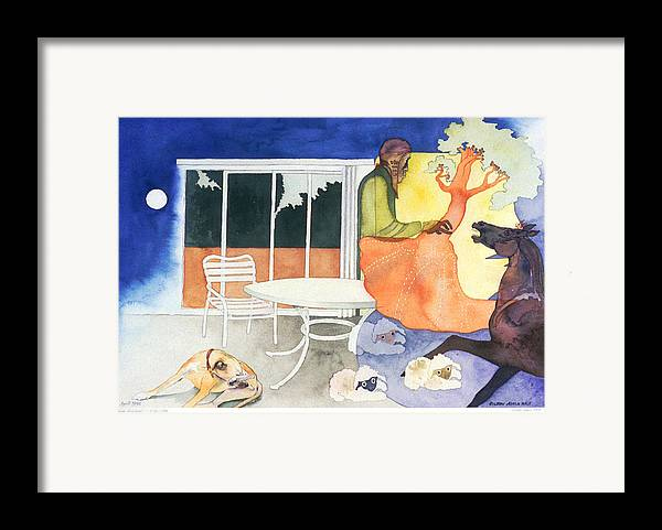 Surreal Framed Print featuring the painting Dusk Moonlicks by Eileen Hale