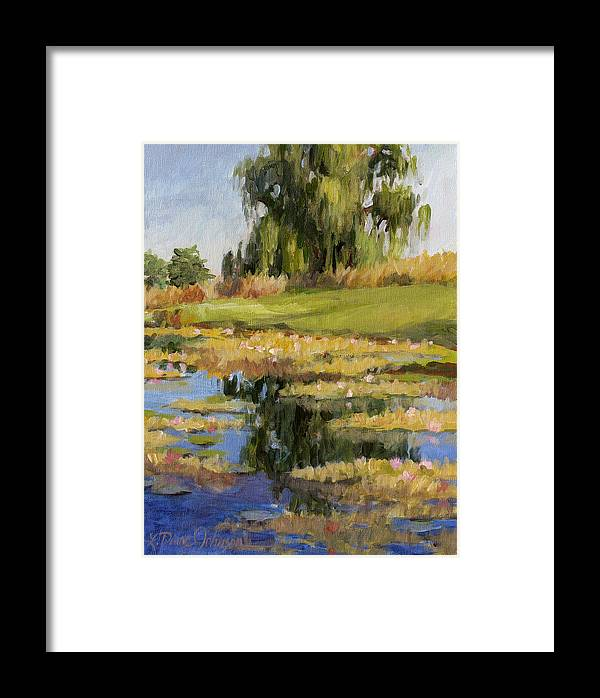 Pond Of Water Lilies Framed Print featuring the painting Dusk Over The Pond by L Diane Johnson