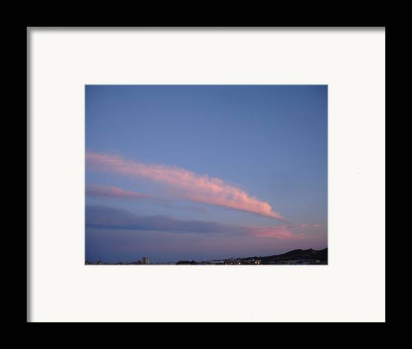 Landscape Framed Print featuring the painting Dusk by Roger Cummiskey