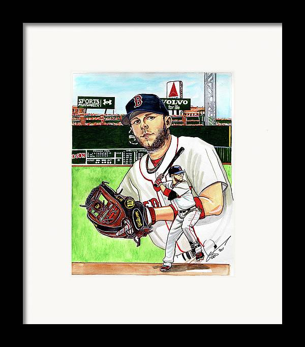 Dustin Pedroia Framed Print featuring the painting Dustin Pedroia by Dave Olsen