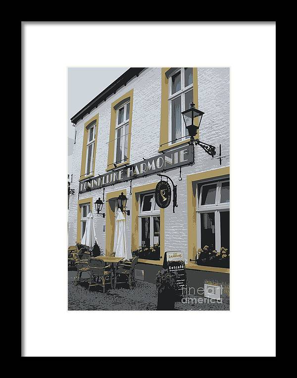 Gray And Yellow Framed Print featuring the photograph Dutch Cafe - Digital by Carol Groenen